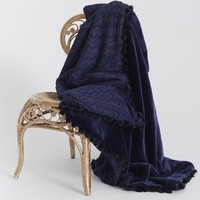 Love Boat Throw French Faux Fur to Navy Gold Knit