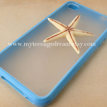Iphone 4 Case, starfish iphone 4 case, whtie starfish iphone 4s Case, blue side clear case