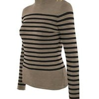 Cielo Embellished Stripe Mock Neck Pullover