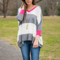 Striped Boyfriend Sweater, Gray