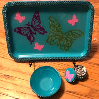 Butterfly Bling Tobacco Rolling Tray