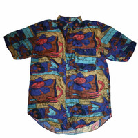 Vintage 90s Colorful 100% Silk Short Sleeve Button Up Shirt Mens Size Small