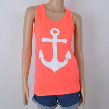 Anchor Tank Tops Graphic Tee Women Back Bow  Sleeveless shirt Summer Style