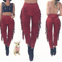 Vintage 1970s 198's Red FRINGE Suede High Waisted Southwestern Slim Leg Festival Pants || Thunderbird And Conchos || Size 26 to 27 / 2 to 4