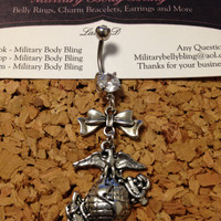 Marines EGA Belly Button Ring