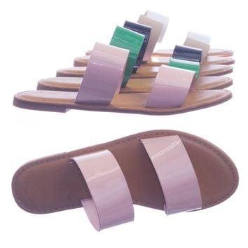 Coastline64 by Sunny Feet Double Wide Strap Slip On Slipper Flat Sandals