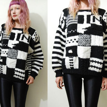 Vintage KNITTED Sweater Black / White MONOCHROMATIC Striped Checkered CHUNKY 80s vtg 1980s Kawaii Kitsch Jumper Cable Knit s m l