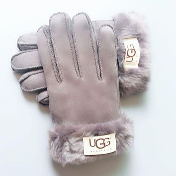 UGG Winter Woman Men Warm Fur Gloves Grey