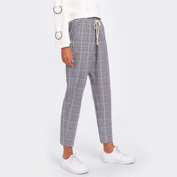 Drawstring Detail Plaid Peg Pants Grey High Waist Trousers