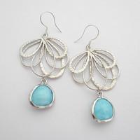 Powder Blue Earrings - Matt Silver Feather Charm - Fan Czech Glass Stone Earrings - Sterling Silver Ear Wires -