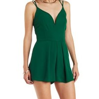 Emerald Strappy Plunging Chiffon Romper by Charlotte Russe