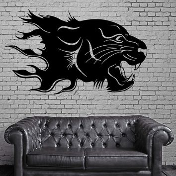 Panther in Flames Jungle Tribal Animal Decor Wall Mural Vinyl Art Sticker Unique Gift M370