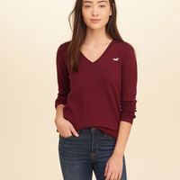 Girls V-Neck Icon Sweater | Girls Tops | HollisterCo.com