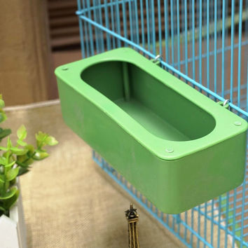 6Pcs/lot Bird Feeding Food Box Parrot Bowl Box Middle Large Cockatiel Bird Bowl Sink Water Hanging Cage Plastic Bird Supplies