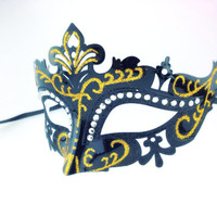 Royal Classic Black/Gold Venetian Laser Cut Mask Masquerade with Rhinestones for Prom, Wedding, or other Special Events