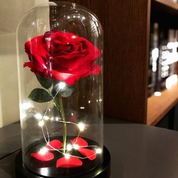 "Homeseasons Enchanted Rose, ""Beauty and the Beast"" Red Rose, Pre-Lit Silk Rose in Glass Dome"