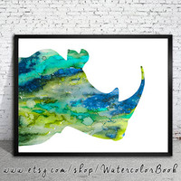 Blue Rhinos Watercolor Print, Fine Art Print, Children's Wall, Art Home Decor, animal watercolor, watercolor painting,rhinoceros watercolor