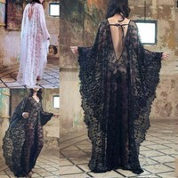 Women Floral See through V neck Transparent Beach Wear Lace Lace up Cover Up Backless Ladies Summer Long Maxi Dress Sexy
