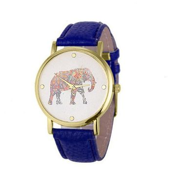 New Fashion Watches Women Elephant Printing Pattern Weaved Leather Quartz Dial Dress Watch Clock Relogio Feminino DropShipping