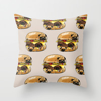Pugs Burger Throw Pillow by Huebucket