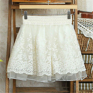 Skirt Full Lace Embroidery Tulle Skirt Mini Woman