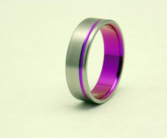 Titanium Ring With Passion Pink From Peacefield Titanium