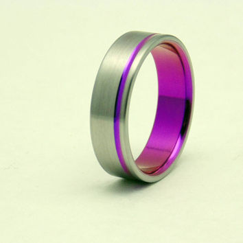 Titanium ring with passion pink pinstripe,  Handmade titanium wedding band