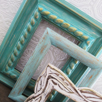 Beach Wedding Picture Frame Set Of 3 Aquamarine Mint Green Decor