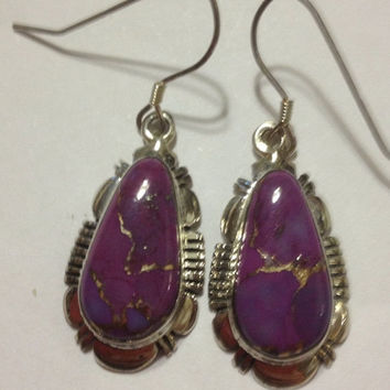 ON SALE Navajo Sugilite Sterling Earrings Silver 925 Purple Gold Stones Vintage Native American Tribal Southwestern Boho Jewelry USA Gift