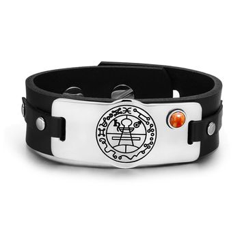 Secret Seal of Solomon Protection Magic Powers Amulet Red Jasper Gemstone Leather Bracelet