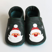 Santa Claus Leather Baby Booties, Baby Shoes, Christmas Infant Newborn Children Red Green White