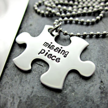 You are my missing piece - Couples Keychain and Necklace Set - Dog Tag - Puzzle Piece - Interlocking