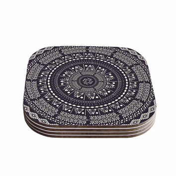"Famenxt ""Swadesi Boho Mandala"" Black Illustration Coasters (Set of 4)"