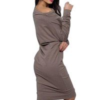2016 Sexy Heart Print Loose Casual Mini Bodycon Dresses Warm Women Long Sleeve Dress Off Shoulder Sexy Dress Vestidos GV327