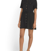 Juniors Short Sleeve Cinched Shirt Dress - Dresses - T.J.Maxx