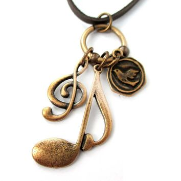 Treble Clef Musical Quaver Note and Dove Shaped Charm Necklace in Brass