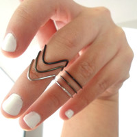 Set of 3 Stackable Chevron Knuckle Rings- Black Ombre Inspired