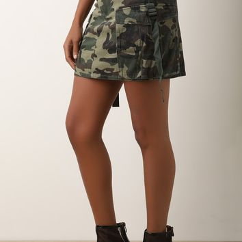 Camouflage High Rise Cargo Mini Skirt
