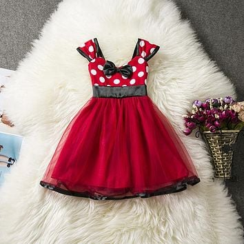 Baby Kids Girls Clothes Dresses For Girl Dot Pattern Red First Birthday Party Dress 1 2 3 4 5 Years Tutu Toddler Girl Outfits