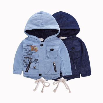 Fashion Denim baby Boys Children hooded outerwear coat with soft nap kids jackets for Boy jacket Autumn Winter children clothing