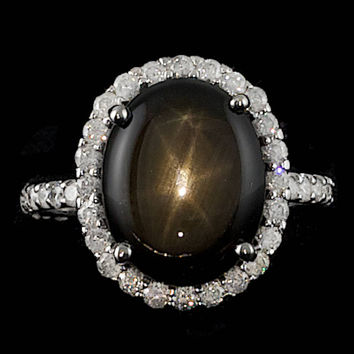 14K WHITE GOLD 10.50CT STAR SAPPHIRE 1.30CT DIAMOND RING