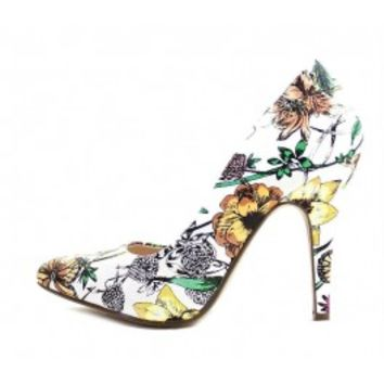 Delicious Mister-S White Floral Pionty Toe Stiletto Heels Pumps Shoes wowtrendz