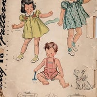 1940s Simplicity Sewing Pattern Toddler Girls Dress Baby Boy Overalls Playsuit Smocked Front