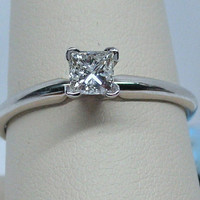 0.50ct Princess Cut Diamond Solitaire in 14k White Gold
