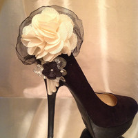 Ivory and Black Flower tulle shoe accessory, shoe condom, shoe hat