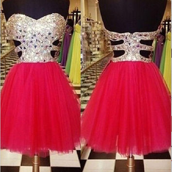 Gems Sweetheart Short Homecoming Dress Knee Length