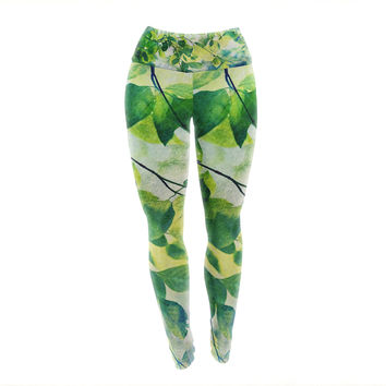 "Sylvia Cook ""Leaves"" Teal Green Yoga Leggings"