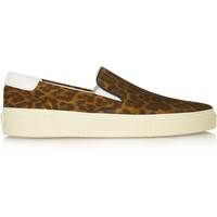 Saint Laurent - Leopard-print suede slip-on sneakers