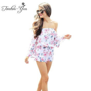 2017 Summer Chiffon short bodysuit Flower Print women clothing female Wear Long Sleeve Beachwear Off The Shoulder jumpsuit Beach