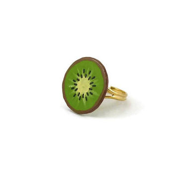 Kiwi slice ring, adjustable green round ring, gourmand fancy ring, painted plastic fruit ring (recycled CD)